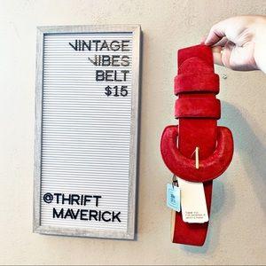Fire Engine Red 80's Waist Belt | Vintage